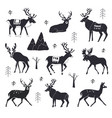 set reindeer silhouettes vector image