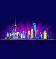 shanghai neon city vector image vector image