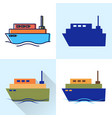 ship icon set in flat and line styles vector image vector image
