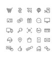 simple black thin line icons for ecommerce vector image