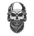 skull in the baseball hat vector image vector image