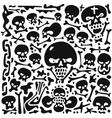 Skulls and bones doodles vector image vector image