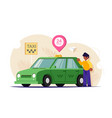 taxi online 24 hours a day the driver or customer vector image vector image