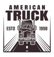truck on road monochrome vector image