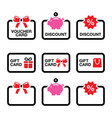 voucher gift discount card sale icon set vector image