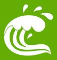 water wave splash icon green vector image vector image