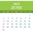 2019 calendar template - june vector image vector image