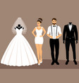 a set of wedding clothes the choice clothes for vector image