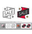 banner sticker sale editable stroke thin line icon vector image vector image