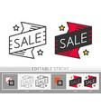 banner sticker sale editable stroke thin line icon vector image
