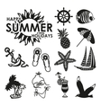black and white summer icons vector image vector image