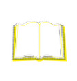 book sign yellow icon with square pattern vector image
