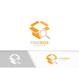 box and loupe logo combination package and vector image