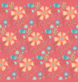 bright doodle red floral summer pattern vector image