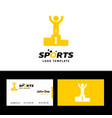 business card of sports with yellow and white vector image