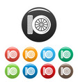 car tire icons set color vector image vector image