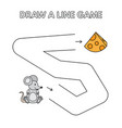 cartoon mouse draw a line game for kids vector image vector image