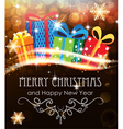 Christmas presents on abstract holiday background vector image vector image