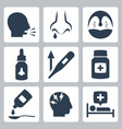 cold and flu related icons vector image vector image