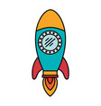 colorful silhouette of space rocket vector image vector image