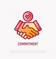 commitment thin line icon handshake with tick vector image