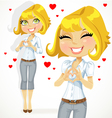 Cute blond girl folded heart out of the hands vector image vector image