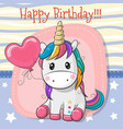 cute cartoon unicorn with balloon vector image