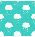 Cute sky with rainy clouds seamless pattern vector image