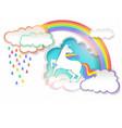 cute unicorn in paper art vector image vector image