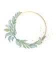 elegant floral frame leaves round wreath vector image