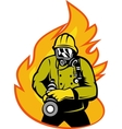 Fireman or firefighter with fire hose vector image