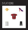 flat icon dress set of singlet t-shirt banyan vector image
