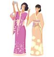geisha japanese women with smartphone people joy vector image