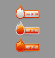 Glossy hot offer icons and buttons vector image vector image