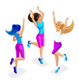isometric of a girl friend fitness jumping runni vector image