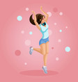 isometrics girl listens to music jumps teenager vector image