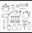 kitchen tools set kitchenware collection vector image vector image