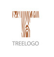logo letter concept of saw cut tree trunk vector image