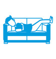 man sleeping on coach vector image