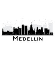 medellin city skyline black and white silhouette vector image vector image