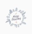 merry christmas abstract greeting card with round vector image vector image