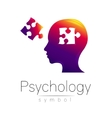 Modern head sign of Psychology Puzzle Profile vector image