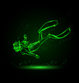 neon glow diver girl linear silhouette in vector image