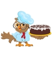 Owl Chef holding cake vector image vector image