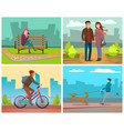 people in park autumn season walks couple vector image vector image