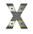 perforated metal letter X vector image vector image