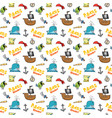 Pirate doodles seamless pattern cute pirate items