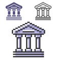 pixel icon bank building ancient style vector image vector image