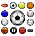 Pixel sports balls vector image