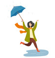 rainy weather in autumn park umbrella vector image